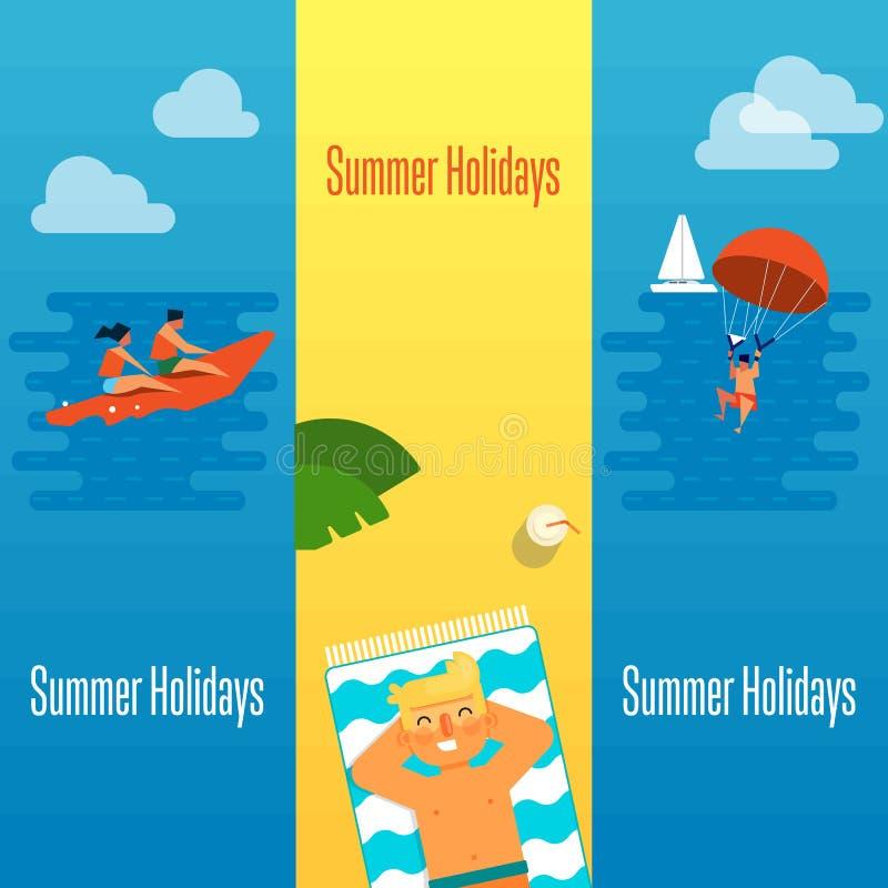 La bandera de las vacaciones de verano con el hombre toma el sol stock de ilustración
