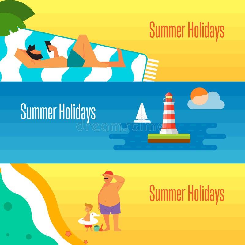 La bandera de las vacaciones de verano con el hombre toma el sol ilustración del vector