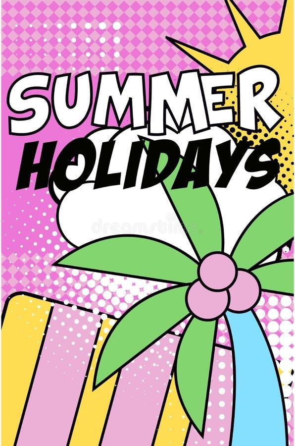 La bandera de las vacaciones de verano, cartel retro brillante del estilo del arte pop con los elementos florales de la naturalez ilustración del vector