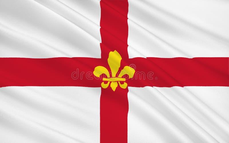 La bandera de Lincoln es una ciudad de la catedral y el capital del condado de Linco imagen de archivo