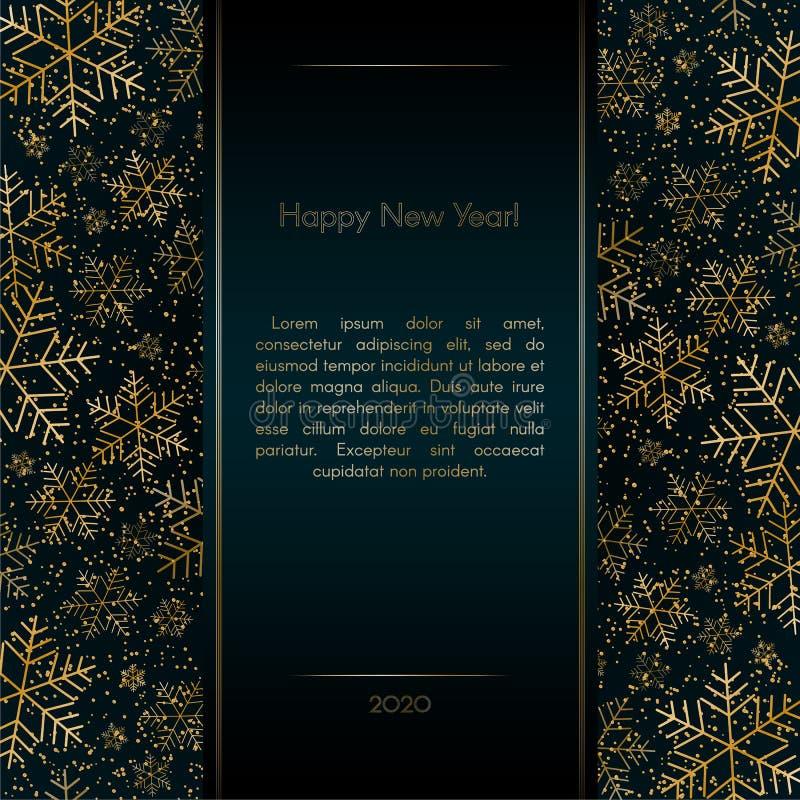La bandera de lujo del Año Nuevo de la Navidad con los copos de nieve del oro brilla la Navidad elegante festiva azul de la tarje libre illustration