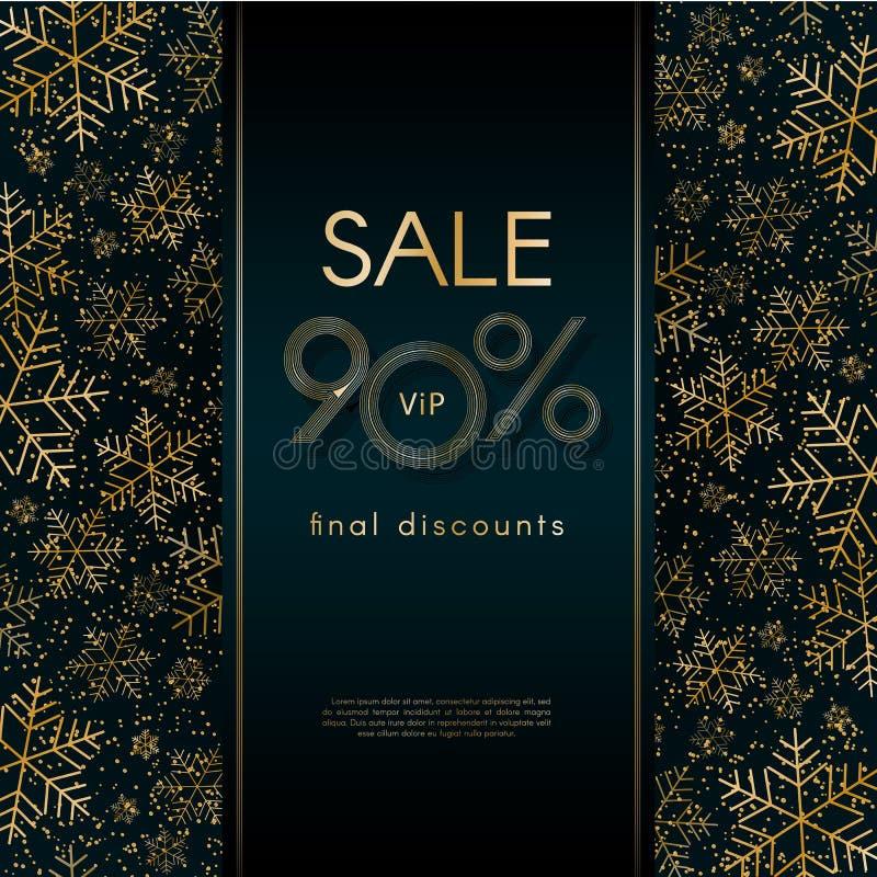 La bandera de lujo final del Año Nuevo de la Navidad de la oferta del VIP de los descuentos de la venta el 90% con el modelo de l libre illustration