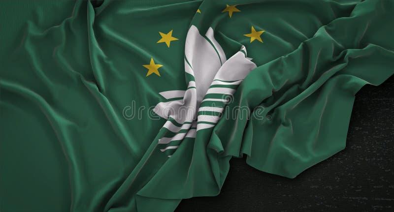 La bandera de Macao arrugó en el fondo oscuro 3D rinde ilustración del vector