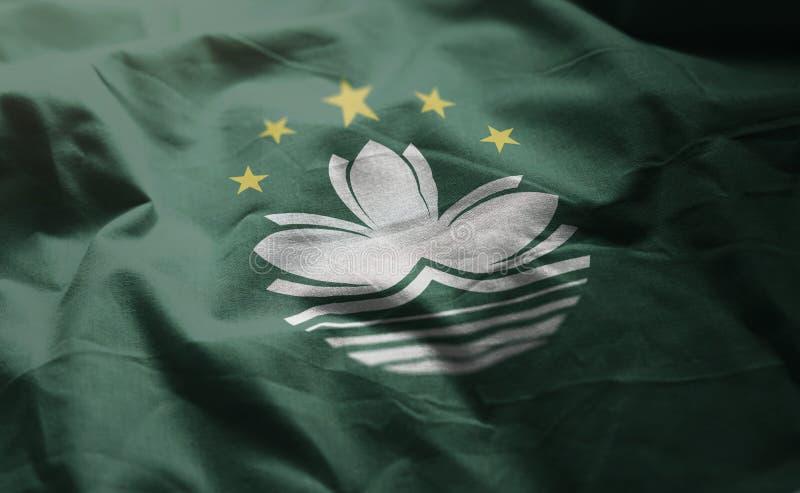 La bandera de Macao desgreñó cercano para arriba fotografía de archivo