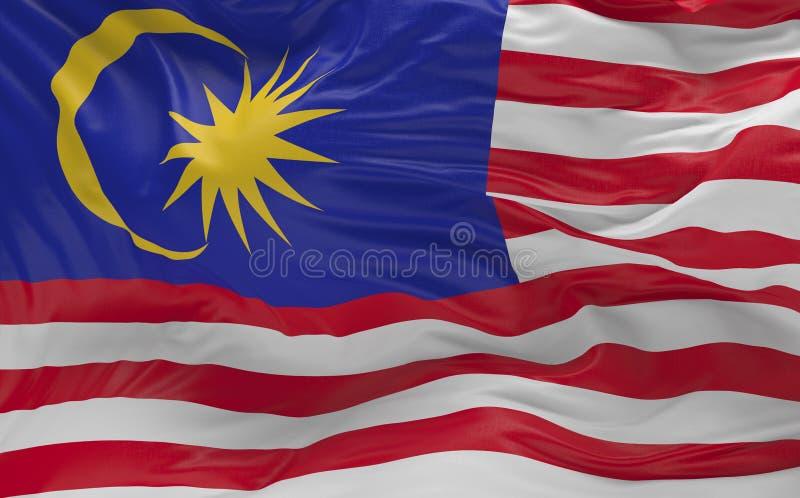 La bandera de la Malasia que agita en el viento 3d rinde ilustración del vector