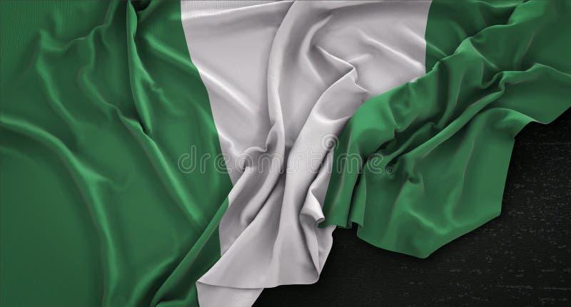 La bandera de Nigeria arrugó en el fondo oscuro 3D rinde stock de ilustración