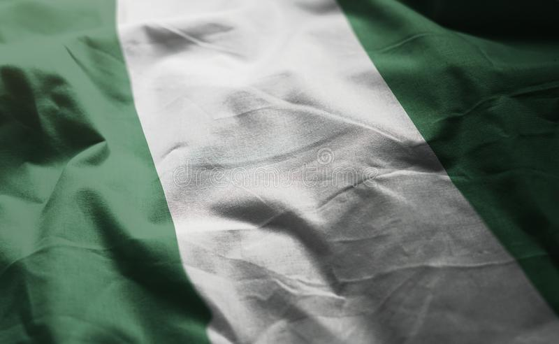 La bandera de Nigeria desgreñó cercano para arriba fotografía de archivo