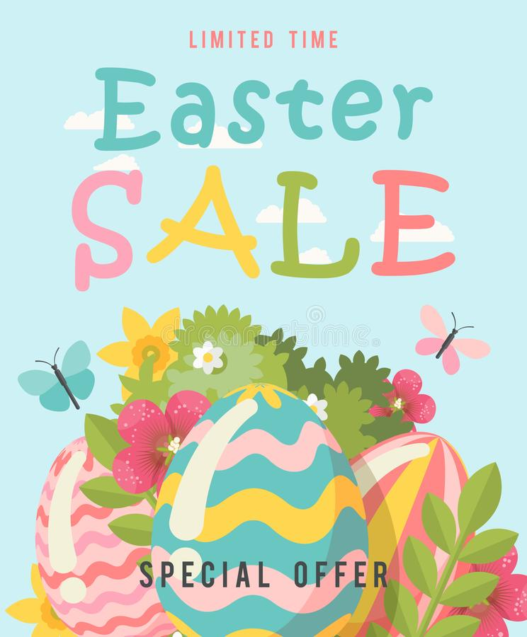 La bandera de la oferta especial de la venta de Pascua con los huevos y la primavera florece Plantilla moderna con colores en col ilustración del vector