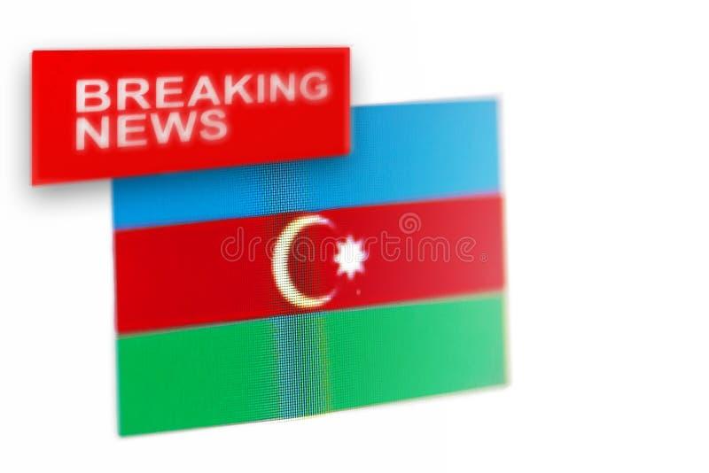 La bandera de país de las noticias de última hora, de Azerbaijan y las noticias de la inscripción fotografía de archivo libre de regalías
