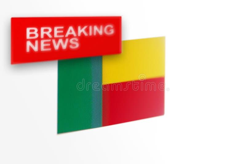 La bandera de país de las noticias de última hora, de Benin y las noticias de la inscripción ilustración del vector