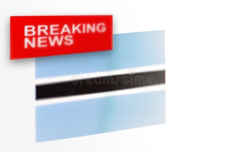La bandera de país de las noticias de última hora, de Botswana y las noticias de la inscripción fotografía de archivo libre de regalías
