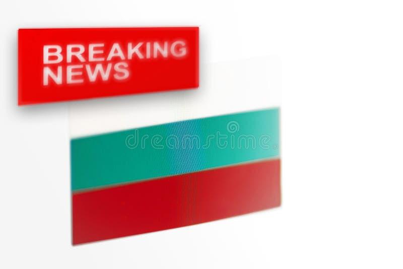 La bandera de país de las noticias de última hora, de Bulgaria y las noticias de la inscripción fotografía de archivo