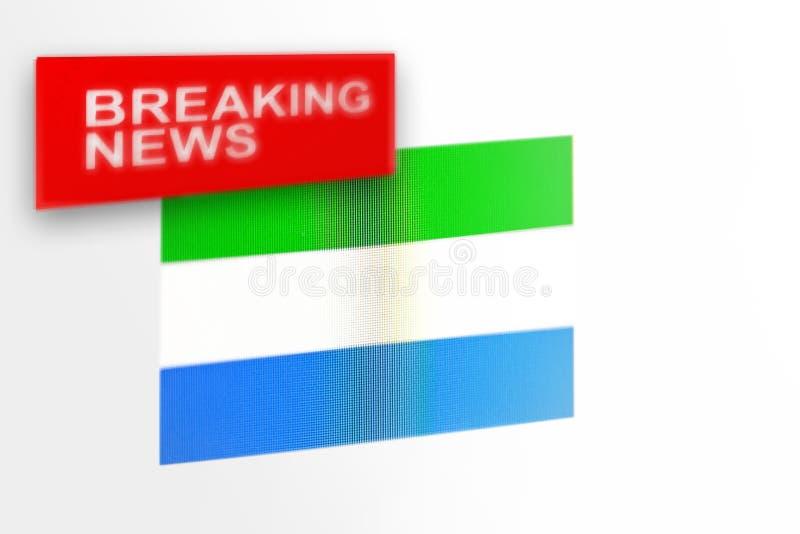 La bandera de país de las noticias de última hora, del Sierra Leone y las noticias de la inscripción fotos de archivo libres de regalías