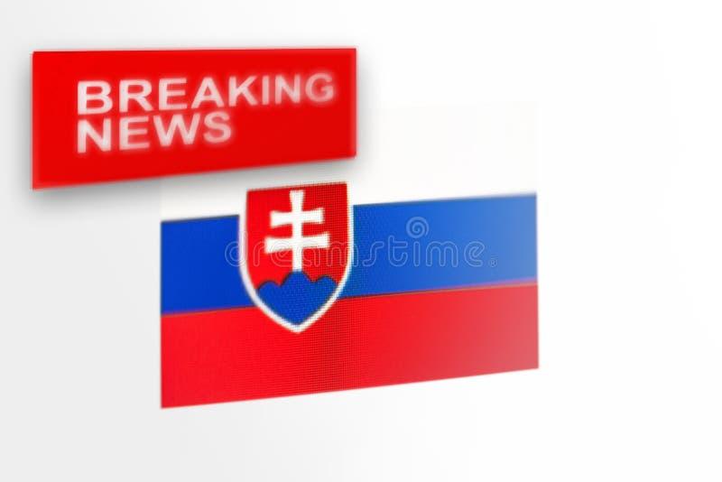 La bandera de país de las noticias de última hora, de Eslovaquia y las noticias de la inscripción imágenes de archivo libres de regalías