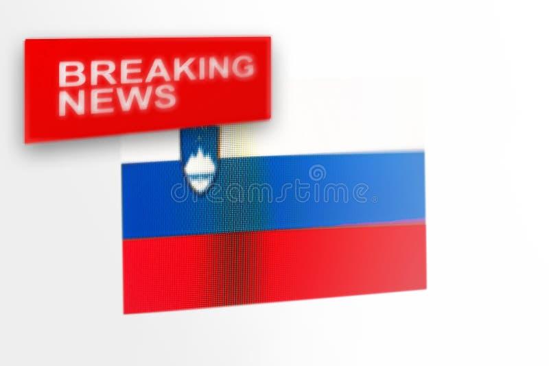 La bandera de país de las noticias de última hora, de Eslovenia y las noticias de la inscripción imagen de archivo libre de regalías