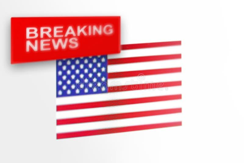 La bandera de país de las noticias de última hora, de los Estados Unidos de América y las noticias de la inscripción fotografía de archivo libre de regalías