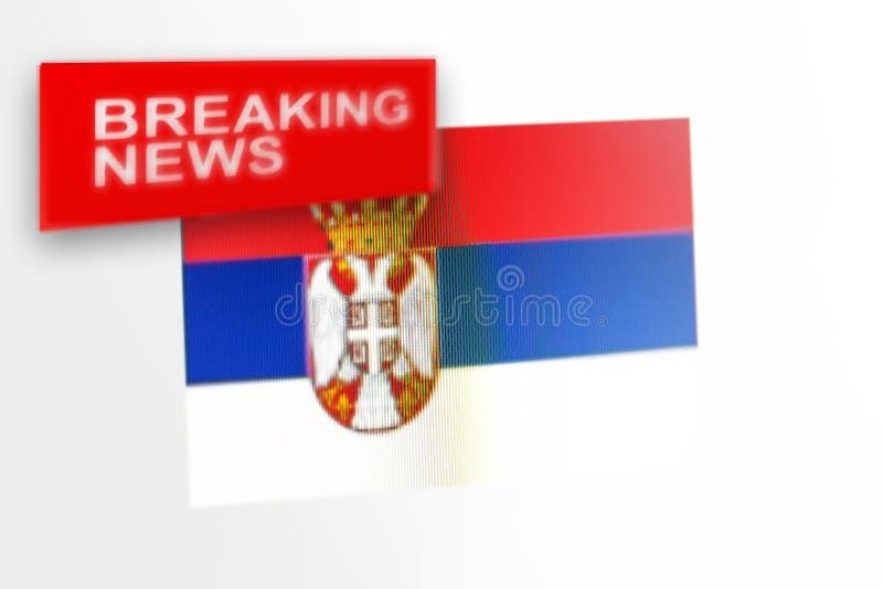 La bandera de país de las noticias de última hora, de Serbia y las noticias de la inscripción imágenes de archivo libres de regalías