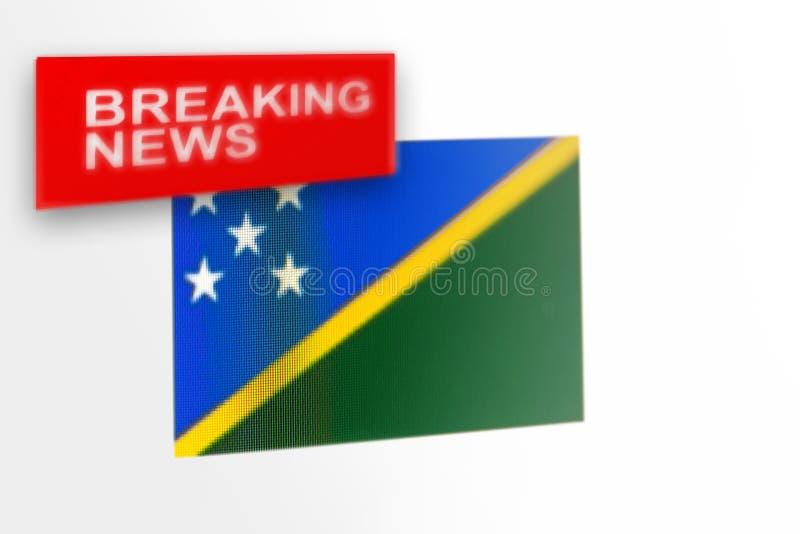 La bandera de país de las noticias de última hora, de Solomon Islands y las noticias de la inscripción fotografía de archivo