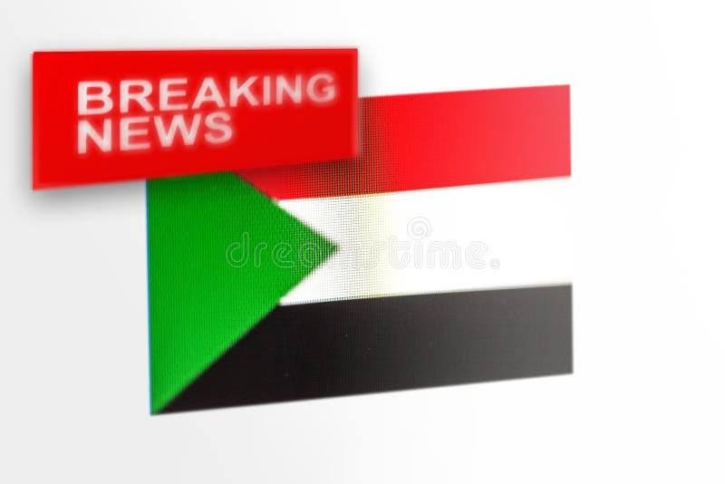 La bandera de país de las noticias de última hora, de Sudán y las noticias de la inscripción fotos de archivo libres de regalías