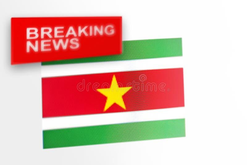 La bandera de país de las noticias de última hora, de Suriname y las noticias de la inscripción fotografía de archivo