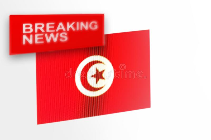 La bandera de país de las noticias de última hora, de Túnez y las noticias de la inscripción foto de archivo