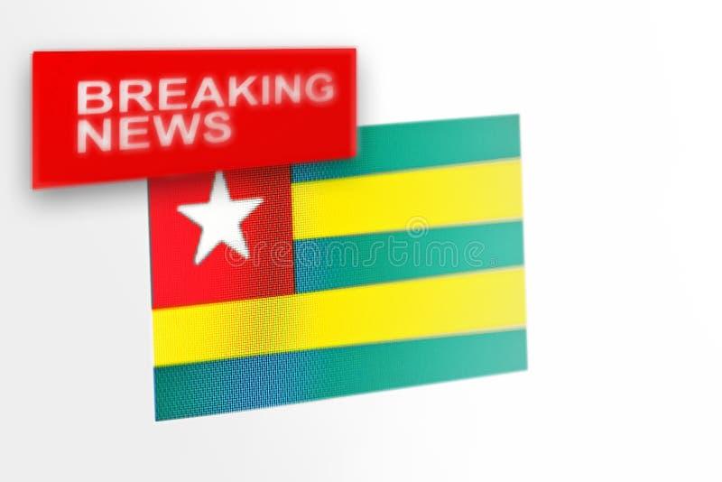 La bandera de país de las noticias de última hora, de Togo y las noticias de la inscripción imágenes de archivo libres de regalías