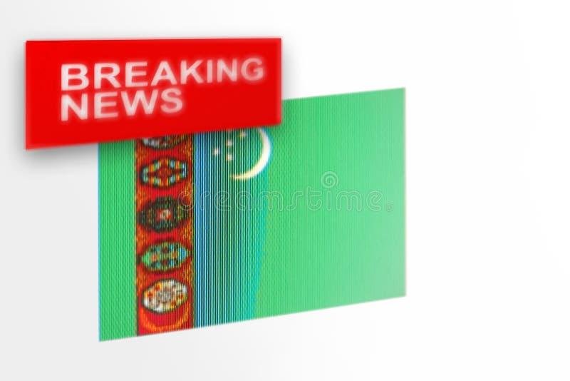 La bandera de país de las noticias de última hora, de Turkmenistán y las noticias de la inscripción imágenes de archivo libres de regalías