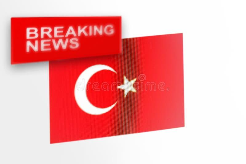 La bandera de país de las noticias de última hora, de Turquía y las noticias de la inscripción imágenes de archivo libres de regalías