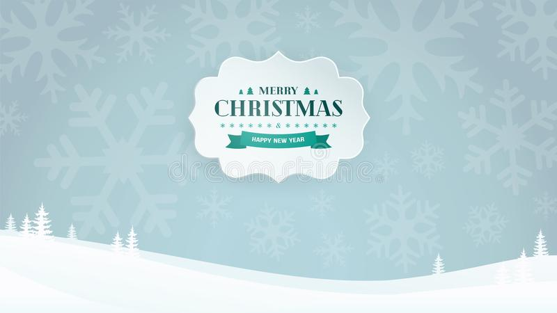 La bandera de papel 3D con el vintage tipográfico de la Navidad y del Año Nuevo badge en el fondo del paisaje del invierno con lo stock de ilustración
