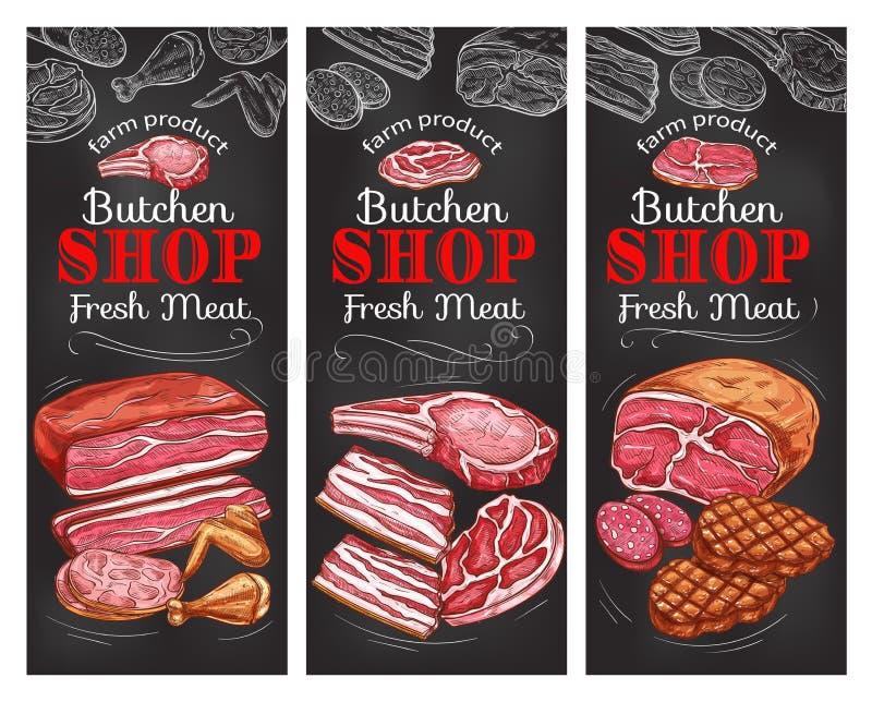 La bandera de la pizarra de la carne y de la salchicha del buncher hace compras stock de ilustración