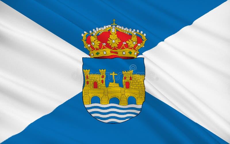 La bandera de Pontevedra es una provincia de España en el comm autónomo imágenes de archivo libres de regalías
