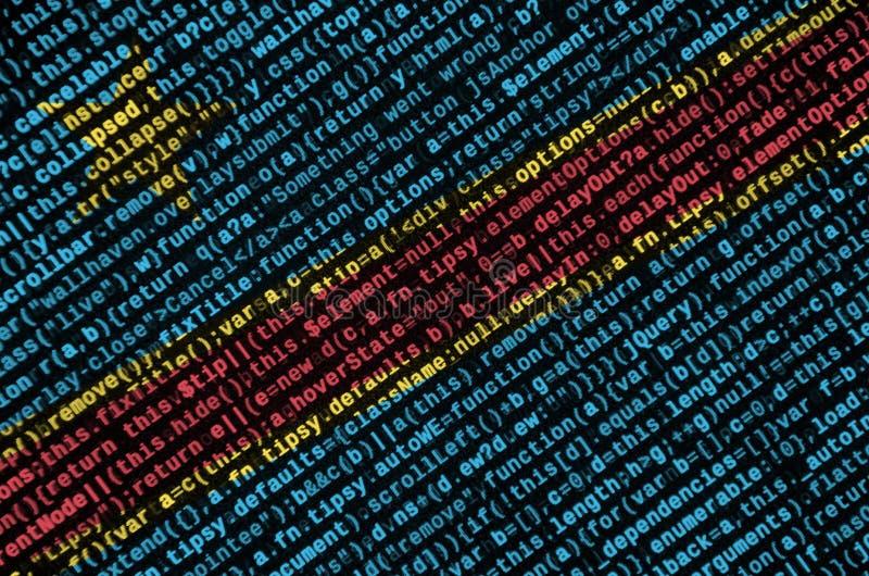 La bandera de República Democrática del Congo se representa en la pantalla con el código de programa El concepto de tecnología mo foto de archivo