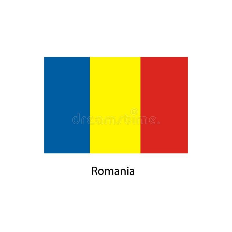 La bandera de Rumania, colores oficiales y proporcióna correctamente Bandera nacional de Rumania ilustración del vector