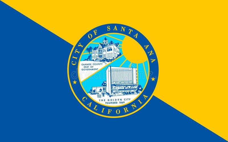 La bandera de Santa Ana es asiento de condado del Condado de Orange, California, U fotos de archivo