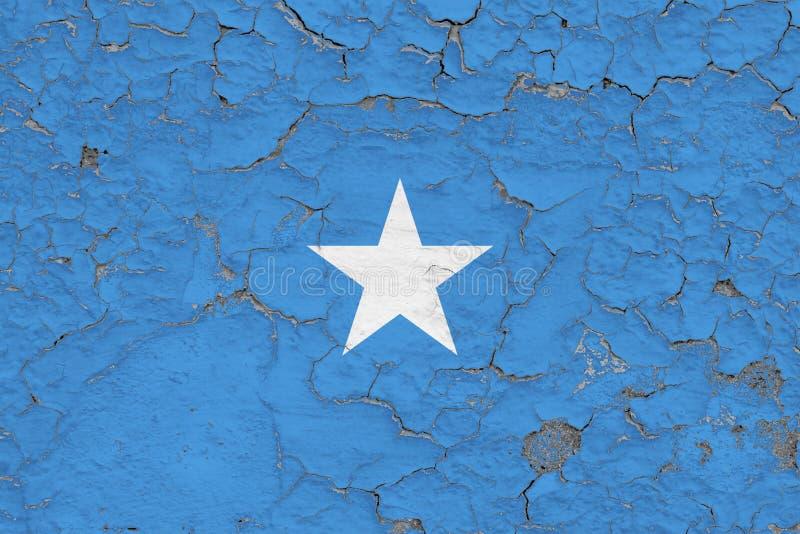 La bandera de Somalia pintó en la pared sucia agrietada Modelo nacional en superficie del estilo del vintage libre illustration