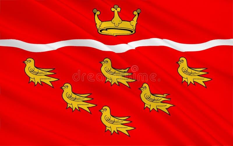 La bandera de Sussex del este es un condado, Inglaterra stock de ilustración