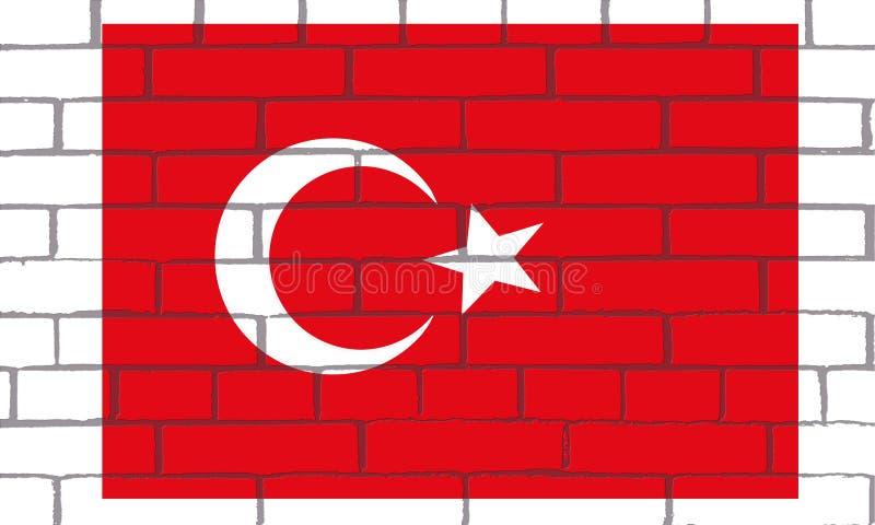La-bandera DE TurquÃa EN LADRILLOS royalty-vrije illustratie