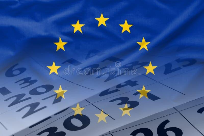 La bandera de la UE con el calendario en el fondo stock de ilustración