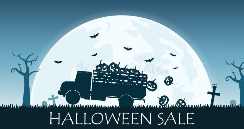 La bandera de la venta de Halloween con el camión lleva la calabaza de la sonrisa en el fondo de la Luna Llena ilustración del vector