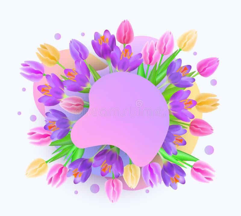 La bandera de la web del verano o de la primavera con el ejemplo de la gota y del vector de las flores aisló ilustración del vector