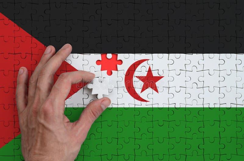 La bandera de Western Sahara se representa en un rompecabezas, que la mano del ` s del hombre termina para doblar imagen de archivo libre de regalías