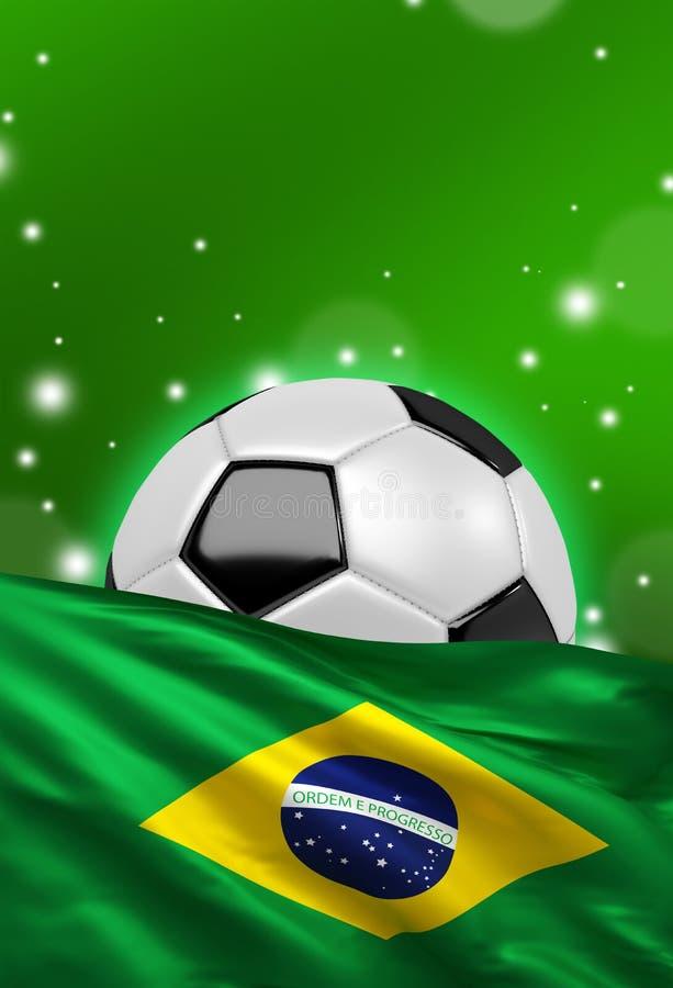 La bandera del Brasil, balón de fútbol en el fondo verde 3D rinde ilustración del vector