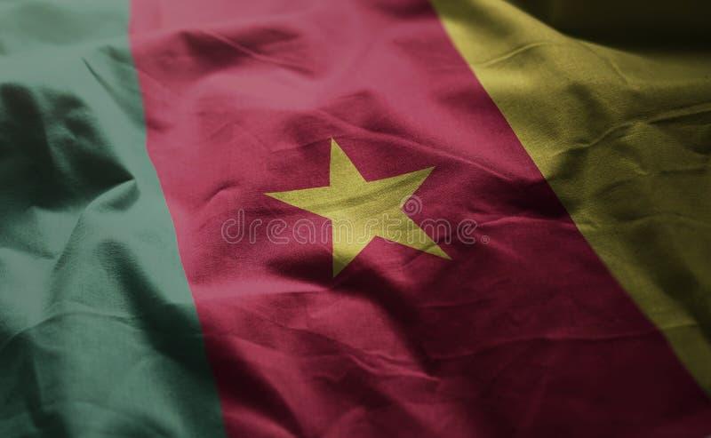 La bandera del Camerún desgreñó cercano para arriba fotos de archivo