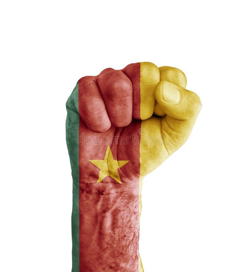 La bandera del Camerún pintó en el puño humano como símbolo de la victoria fotografía de archivo