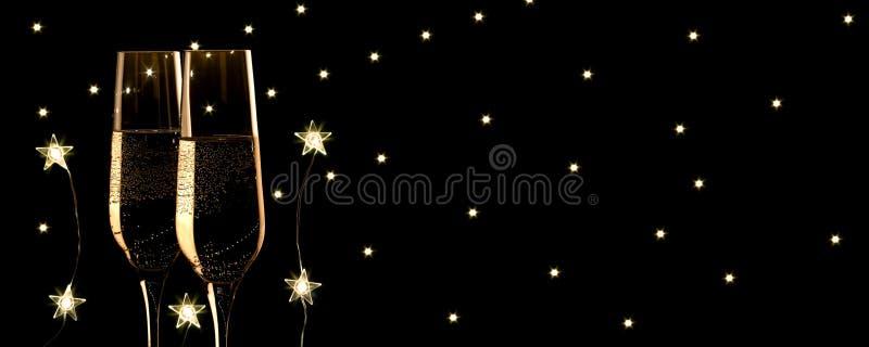 La bandera del champán del Año Nuevo, estrellas llevó y fondo de las estrellas imagen de archivo