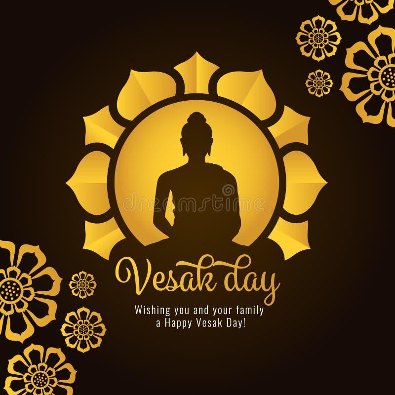 La bandera del día de Vesak con el oro Buda en círculo y los pétalos de Lotus en vector oscuro del fondo diseñan libre illustration