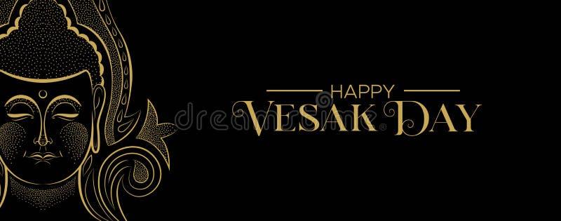 La bandera del día de Vesak del oro tradicional Buda hace frente libre illustration