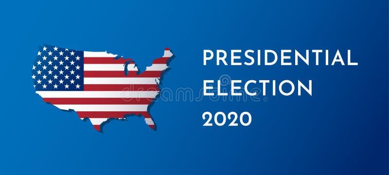 La bandera del ejemplo del vector con los E.E.U.U. traza Indicador americano Elección presidencial en 2020 stock de ilustración