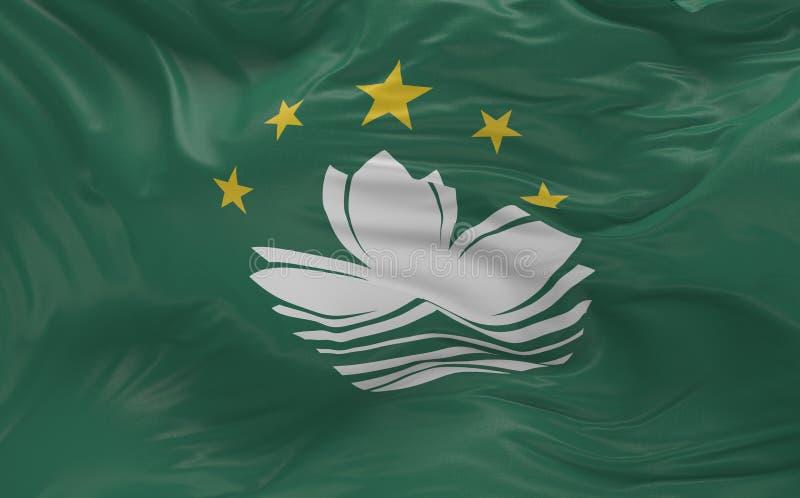 La bandera del Macao que agita en el viento 3d rinde foto de archivo libre de regalías
