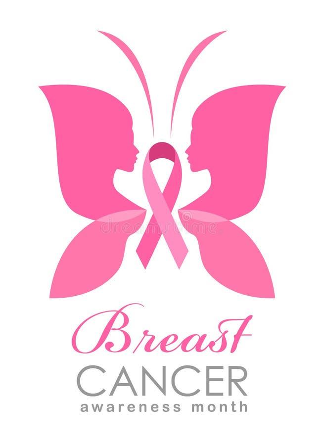La bandera del mes de la conciencia del cáncer de pecho con las alas de la mujer para la muestra de la mariposa y el vector rosad ilustración del vector